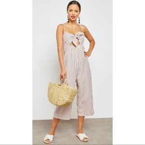 🆕 Topshop Striped Jacquard Bow Front Jumpsuit